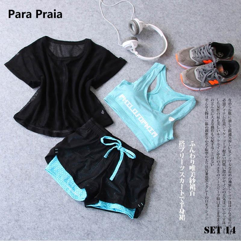 Sport Wear Three Piece Yoga Set Sport Shirt for Women Sports bra Fitness Flare Pants Leggings Tracksuit Gym Leggings 15 Colours