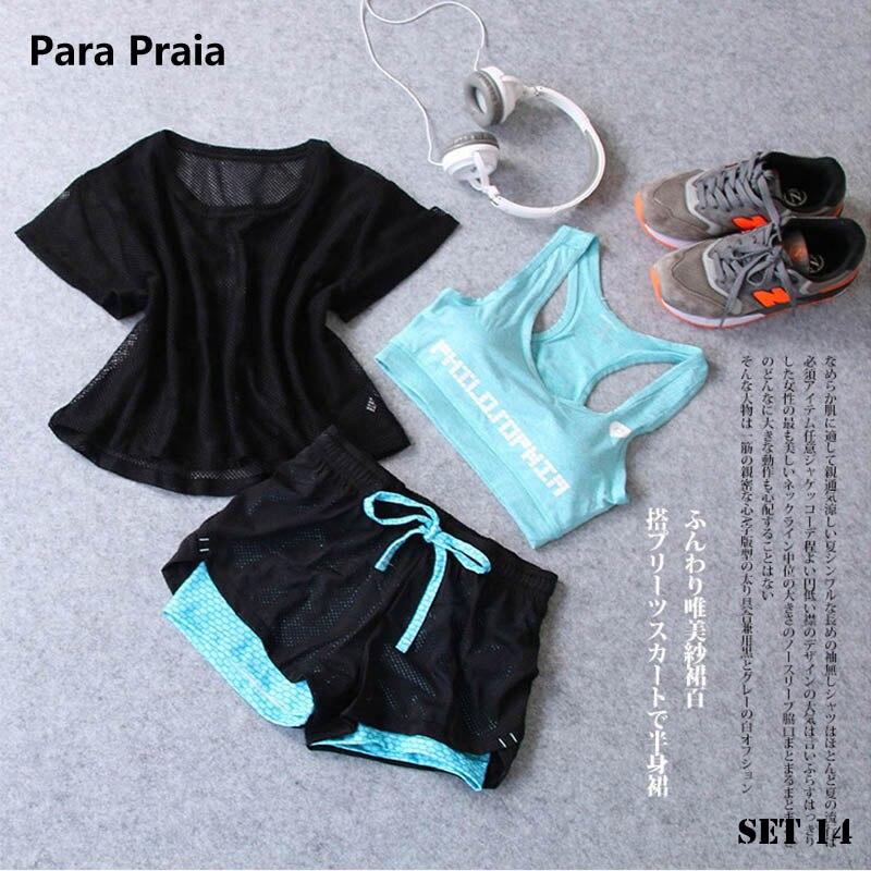 <+>  Спортивная одежда из трех частей Yoga Set Спортивная рубашка Женщины Спортивный бюстгальтер Фитнес F ★