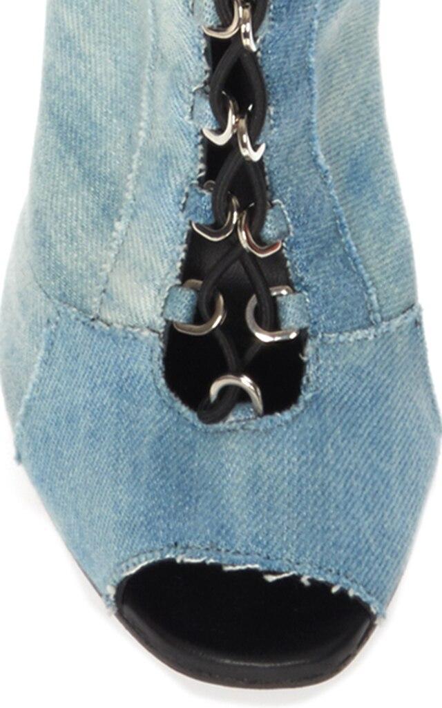 Vrouwen Dames Open Teen Lace Up Dij Hoge Over de Knie Laarzen Stiletto Grote Maat US 4 15.5 Ondersteuning custom Fit Handgemaakte-in Over de knie laarzen van Schoenen op  Groep 3
