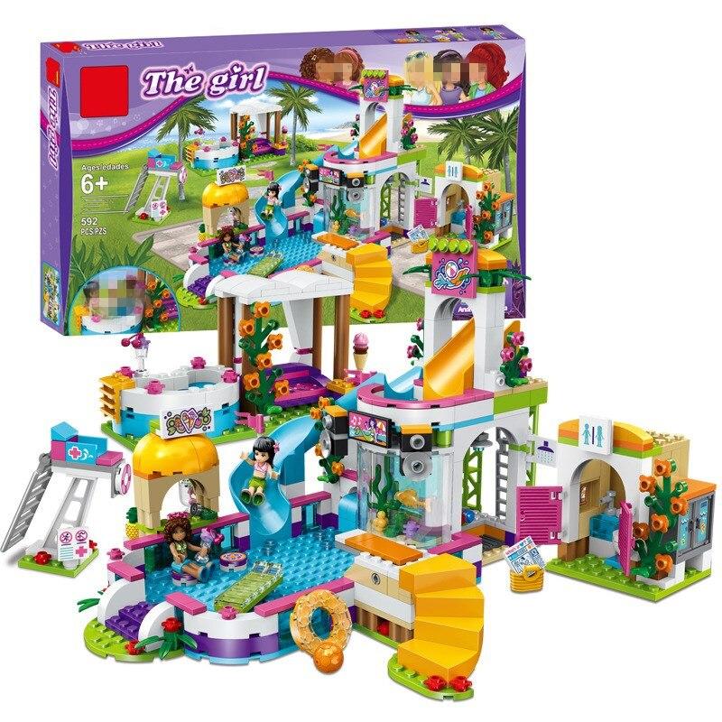 New Heartlake Girls club Summer Pool fit legoings friends figures city model Building block Bricks diy