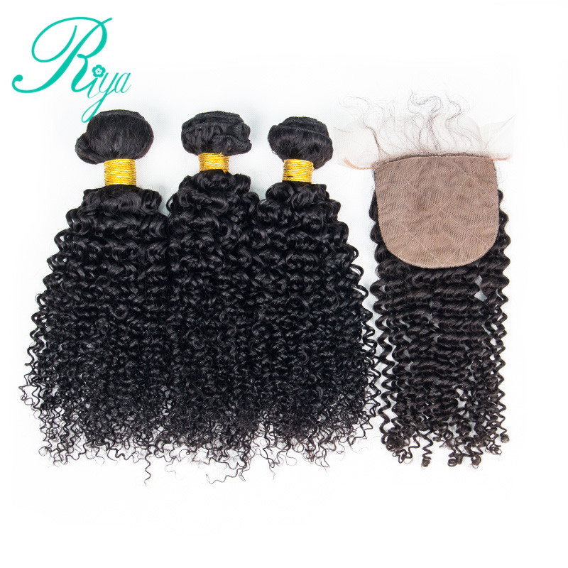 Riya Hair Afro Kinky Curly Brazilian 100% Human Hair 3 / 4 Wave bundles with 4*4 Silk Base lace Closure Remy Hair Extension