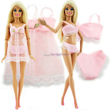 Free Shipping Pink Sexy Pajamas Lingerie Lace  Costumes  + Bra + Underwear Clothes For Barbie Doll Clothes Hot Sell