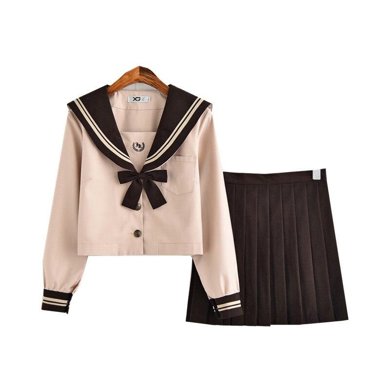 Nouveau japonais/coréen mignon filles marinière costume étudiant école uniformes vêtements tenues courtes/longues manches chemises + jupe ensembles - 3