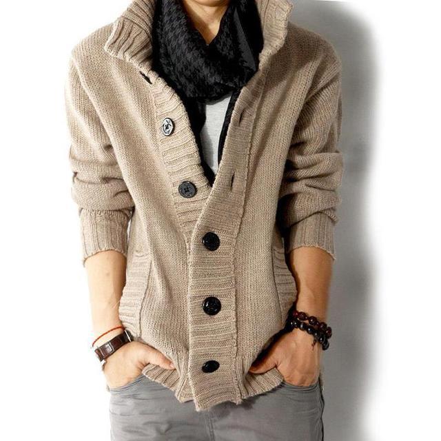 2017 модный бренд мужской шерстяной кардиган свитера Мужская толщиной Стенд воротник пуловер в Корейском стиле с длинными рукавами тонкий сплошной мужские свитера