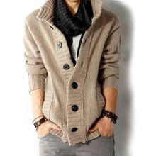 2015 merkevare mote menn ull cardigan gensere menns tykke stå krage pullover koreanske ermene tynne solide menn gensere