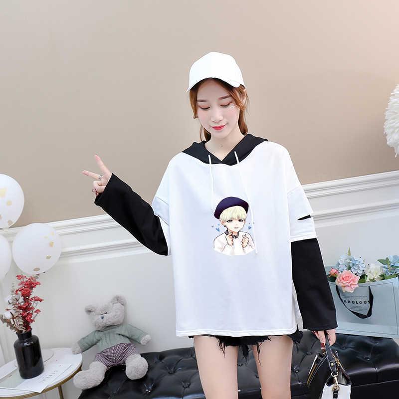 Модные СУГА Для женщин майка новый осенний Kpop каваи мультфильм печати с длинным рукавом Сращивание Повседневная одежда Tumblr с капюшоном Футболки