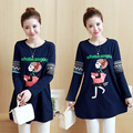 Maternity clothing autumn top embroidered print loose medium-long t-shirt plus size maternity cotton 100% basic shirt