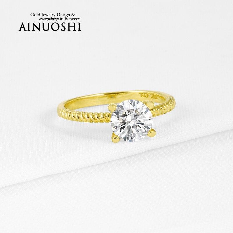 Ainuoshi 10 كيلو الصلبة الذهب الأصفر النساء خواتم الخطبة 1.25 قيراط جولة قص الماس مقلد الماس أزياء المرأة خاتم الزواج