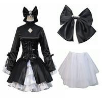 Fate Stay Night Fate Hollow Dark Saber Full Set Uniform Black Dress Cosplay Costume