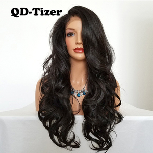 Image 2 - QD Tizer Natural Hairline Glueless High Temperature Fiber Hair Wigs Swiss Long Wavy 4# Brown Synthetic Lace Front Wig for Women