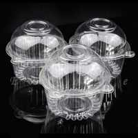 NEW 100pcs Clear Plastic Single Cupcake Cake Case Muffin Dome Holder Box Container