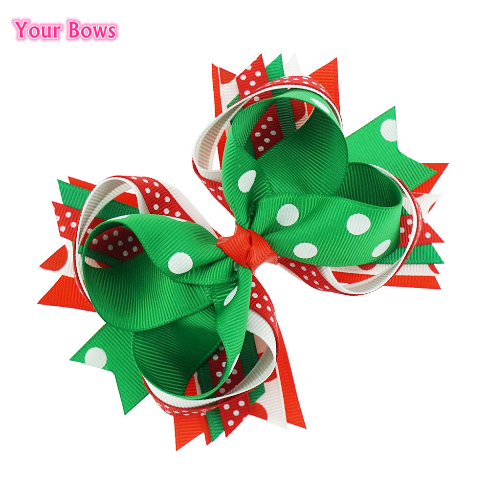 2017 Direct Selling Hot Sale 5 Inches Christmas Gift Kids Hair Bows Polka Dots Ribbon Clip Boutique For Girls Accessories