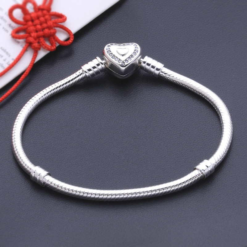 100% 925 chaîne de serpent en argent sterling avec des bracelets de main de perle de coeur et bracelet pour les femmes berloques para pulsera bijoux