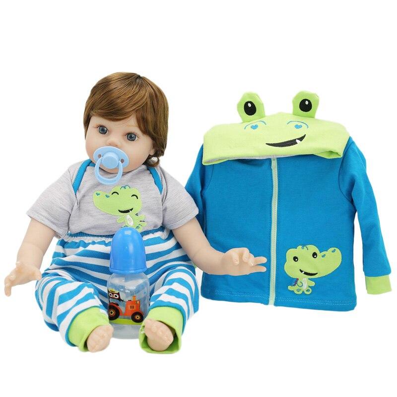 NPK Silicone Reborn bébé poupées avec dessin animé grenouille vêtements anniversaire cadeau jouets poupées pour filles 16 pouces 40 CM bébé né