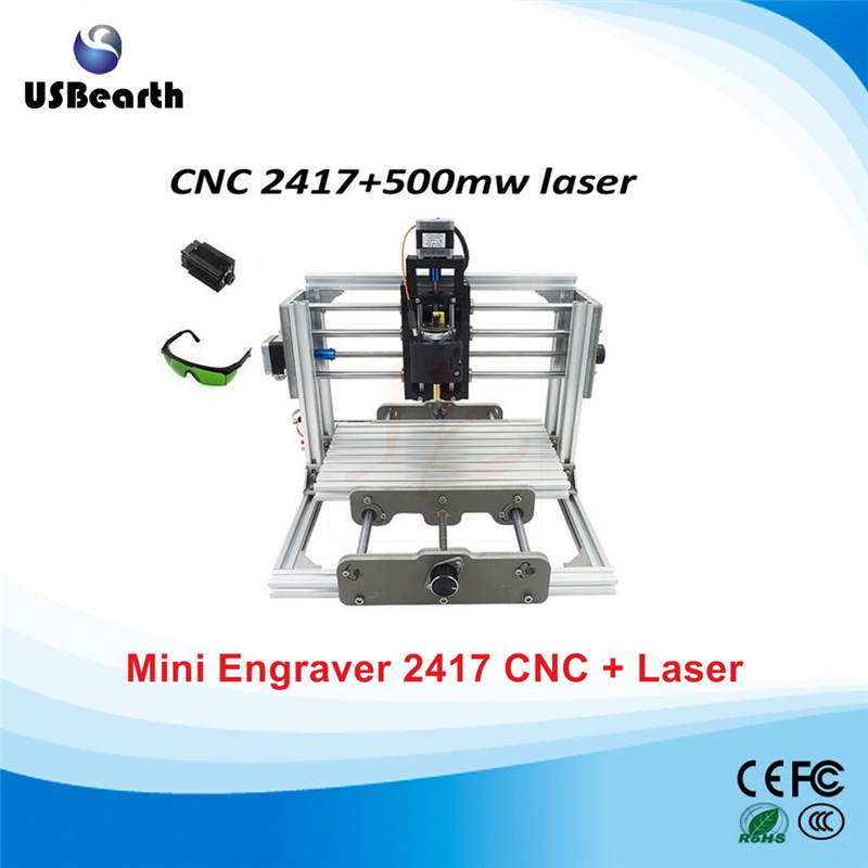 mini CNC 2417 PRO + 500mw laser CNC engraving machine Pcb Milling Wood/Carving Machine,free tax to Russia