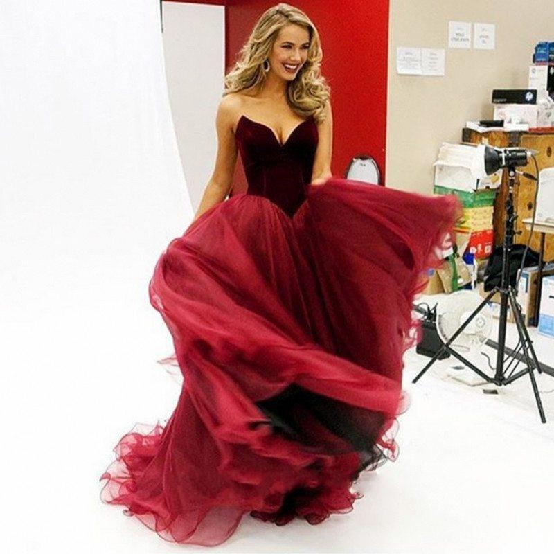 Miss USA Olivia Jordan Strapless Sweetheart Burgundy Prom Dresses A ...