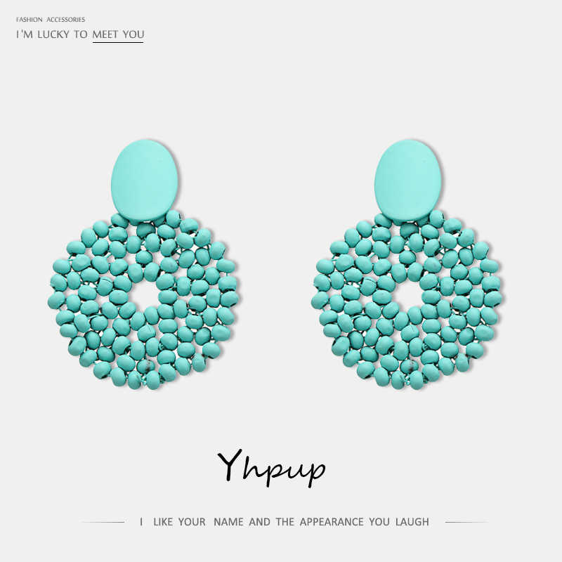 Yhpup Fashion Candy Color Round Geometric Dangle Earrings Wood Bead S925 Silver Pins Girl Women Beach Holiday Jewelry Gift New
