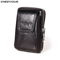 CHEZVOUS Brand Leather Belt Bag for iPhone 6 5 7 8 X Casual Belt Clip Pouch for iphone 6 7 8 plus Multifunction Mobile Phone Bag