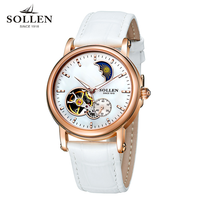 SOLLEN genuine watches automatic mechanical watch fashion female hollow clock waterproof ladies wristwatches for birthday gift t winner automatic watch mens trendy mechanical auto windding silicone band wristwatches modern elegant analog hollow clock gift