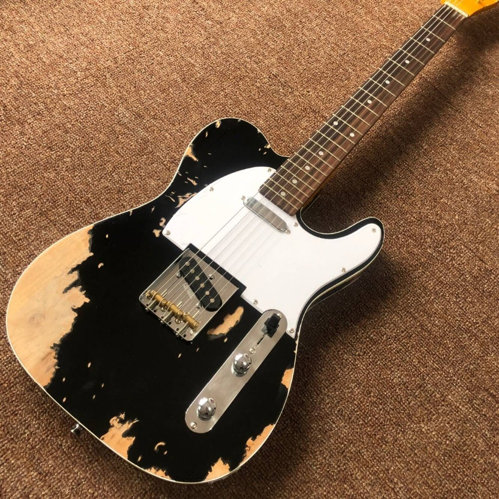 Custom Shop. Nuovo fatto a mano gitaar trasmissione televisiva, di colore nero Tele Chitarra elettrica reliquie con le mani. Master costruire relic TL guitarra