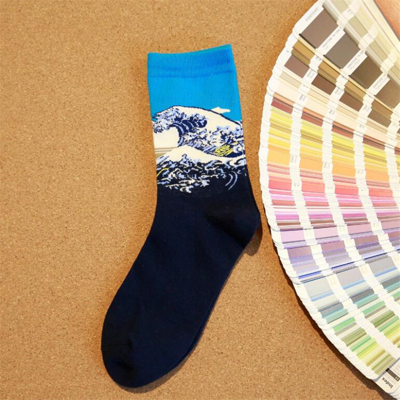 Canjoyn Hot sale Spring Summer Winter Men Socks Women Personality Colorful Oil Paint socks 5Pairs