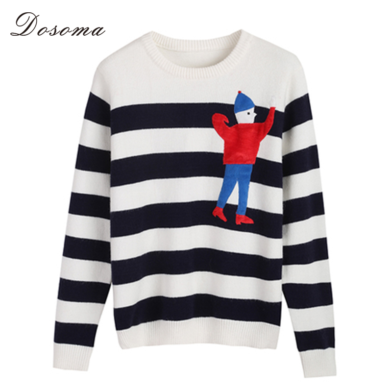 Cartoon Character Striped Sweaters Winter Female Cute Pullover ...