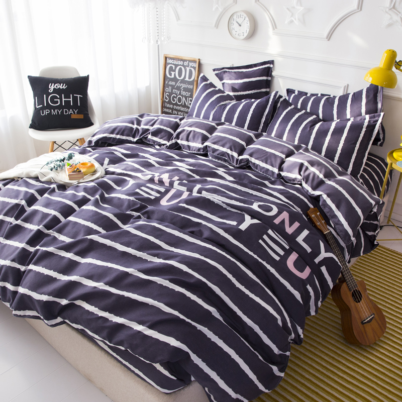 Purple Stripe Pattern Winter Bedding Sets Full King Queen King Size 4Pcs Bed Sheet Duvet Cover Set Pillowcase Without Comforter