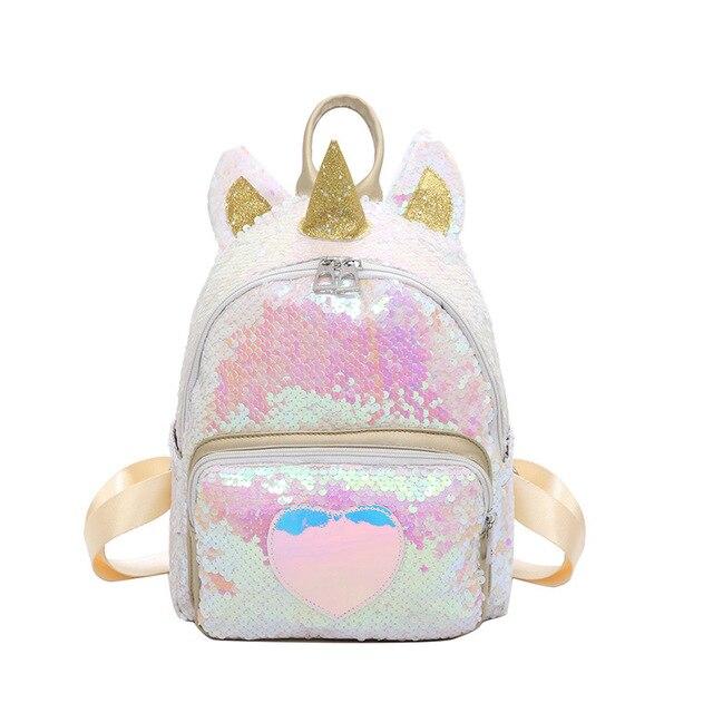 2019 Hot Sale Mulheres Lantejoulas Mochila Unicórnio Bonito Packpack Mochila Para Adolescente Meninas do Estudante Mochila Feminina Bolsa Escola