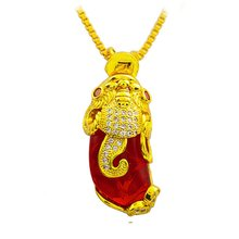 Цепочка с подвеской из Красного камня желтое золото модная женская