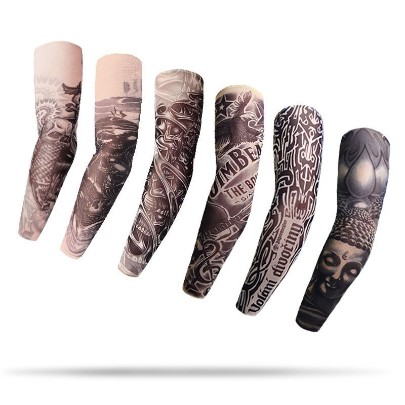 Cycling Sports Cooler Summer Fake Tattoo Gloves Arm Sleeve For Men Women UV Sun Protection Nylon Elastic Oversleeve Party Tattoo