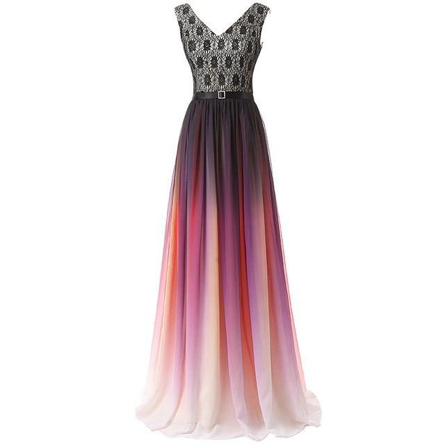 Col en v Ombre robes de soirée Vestido Longo perlée robe de bal 2019 dégradé en mousseline de soie bal longue élégante robe pour femme de grande taille - 6