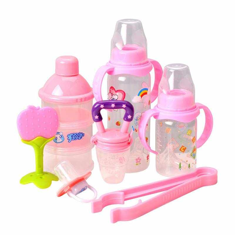 7pcs/set Newborn Baby Food Feeding Kit Bottle Teether Pacifier Bottle Storage Box Bottle Clip Tool Set Bottle Feeding Gifts