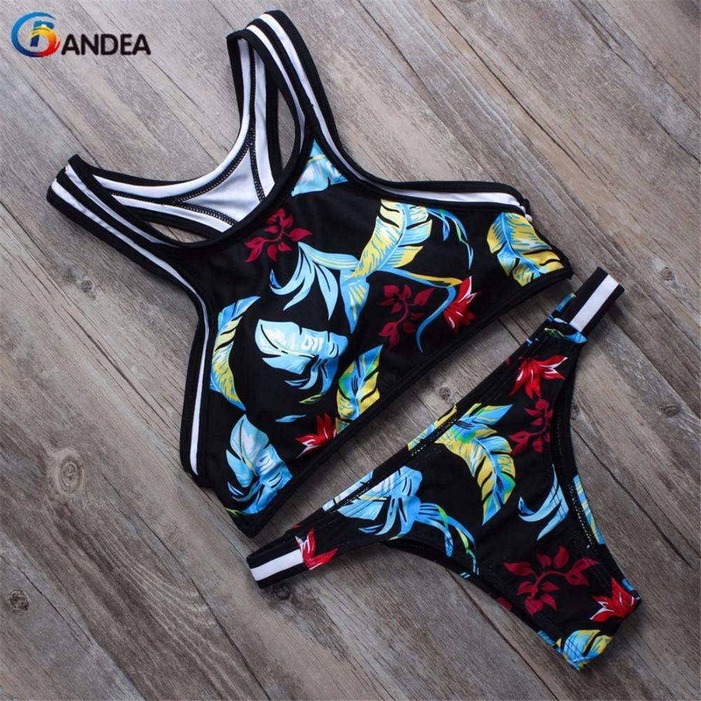 2015 New Printed Swimwear Sports Swimsuit Women Bikini Brazilian Sexy Bikinis Set Crop Bikini Top Bottom
