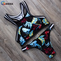 2015 New Printed Swimwear Sports Swimsuit Women Bikini Brazilian Sexy Bikinis Set Crop Bikini Top Bottom