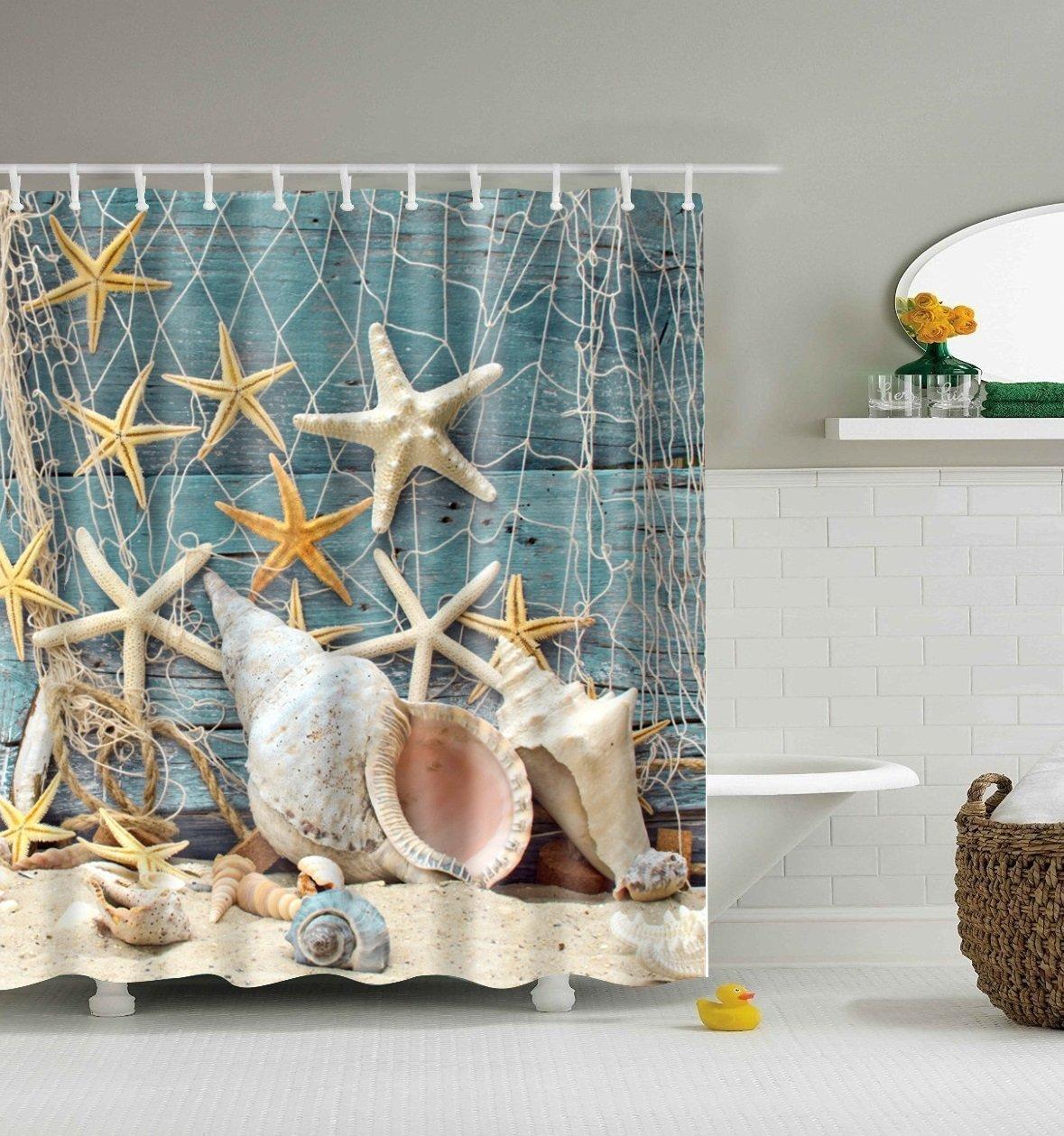 ABxinyoule Seashell Conch Starfish Shower Curtain Fishing