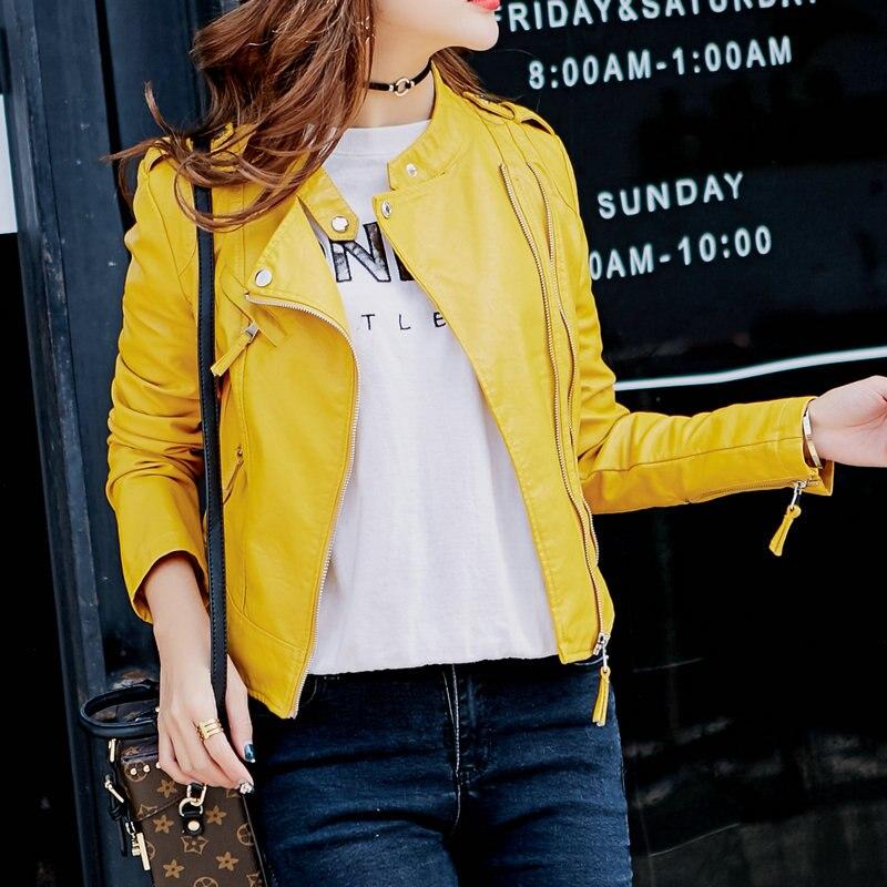 9801a1dd Горячая новинка Модные женские Мотоциклетные Куртки из искусственной кожи  женские осенние короткие погоны молнии пальто Горячая