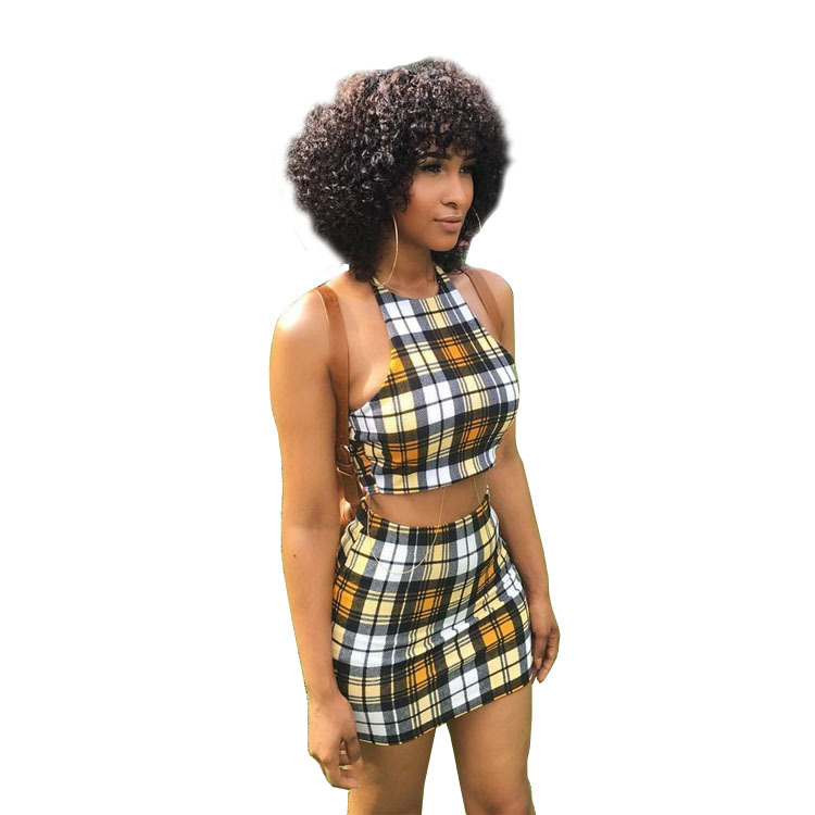Halter Sleeveless Set Plaid 2 Piece Set Women Crop Top Bralette And Skirt Sexy Suits Female Casual Party Outfits