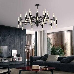 Image 4 - Современная модная дизайнерская Потолочная люстра черного и золотого цвета, Подвесная лампа в стиле арт деко светильник кухни, гостиной, лофта, спальни