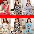 2017 Primavera e No outono longo-seção fina de algodão de mangas compridas pijamas das mulheres Modal desenhos animados inverno casa das mulheres ternos