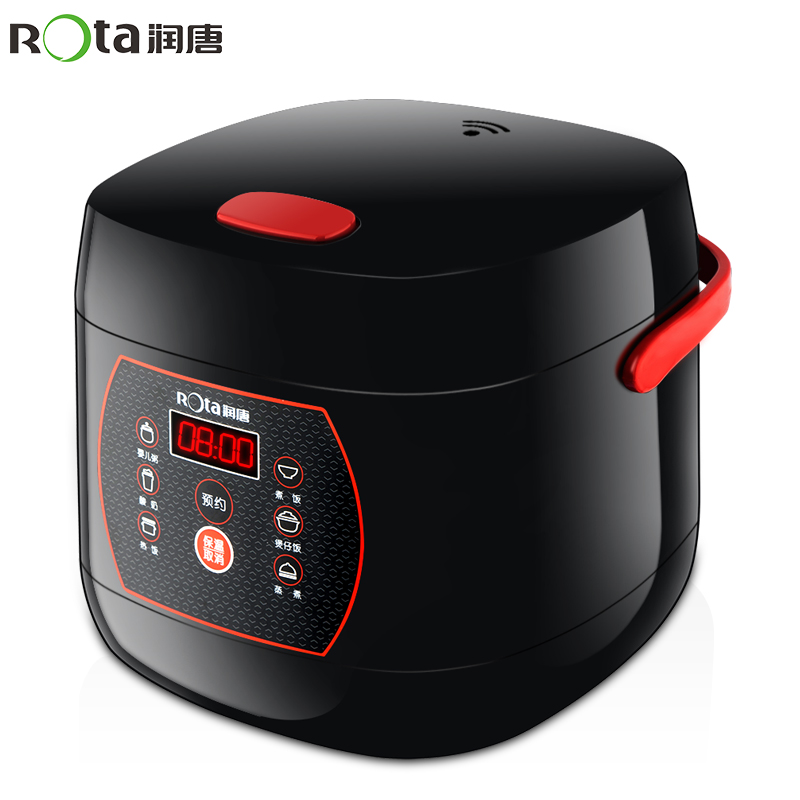 Mini Rice Cooker 2L Microcomputer Intelligent Booking Small Rice Cooker Suitable 1-4 People Electric Non-stick Pot Black