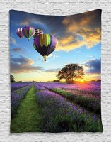 Lavender Fields Hot Balloons Nature View Sunset Scene High Resolution Photo Digital Printed Tapestry Wall