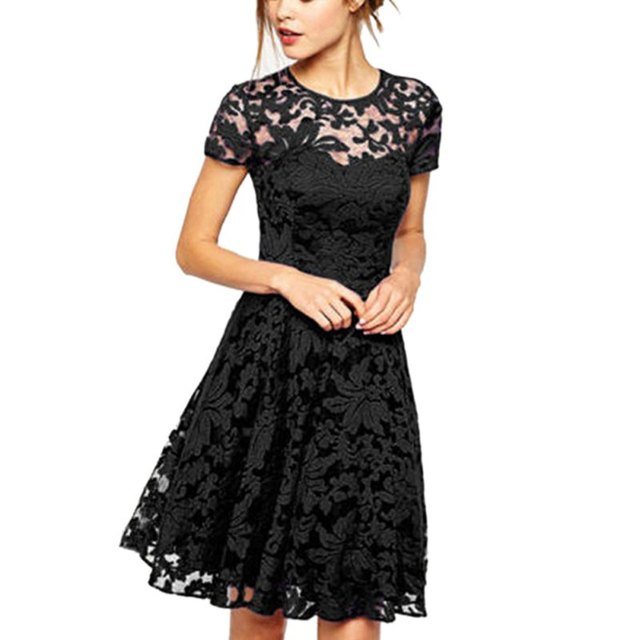 7837ec6b4e Women Floral Lace Dresses Short Sleeve Party Casual Summer Mini Dress  Vestidos