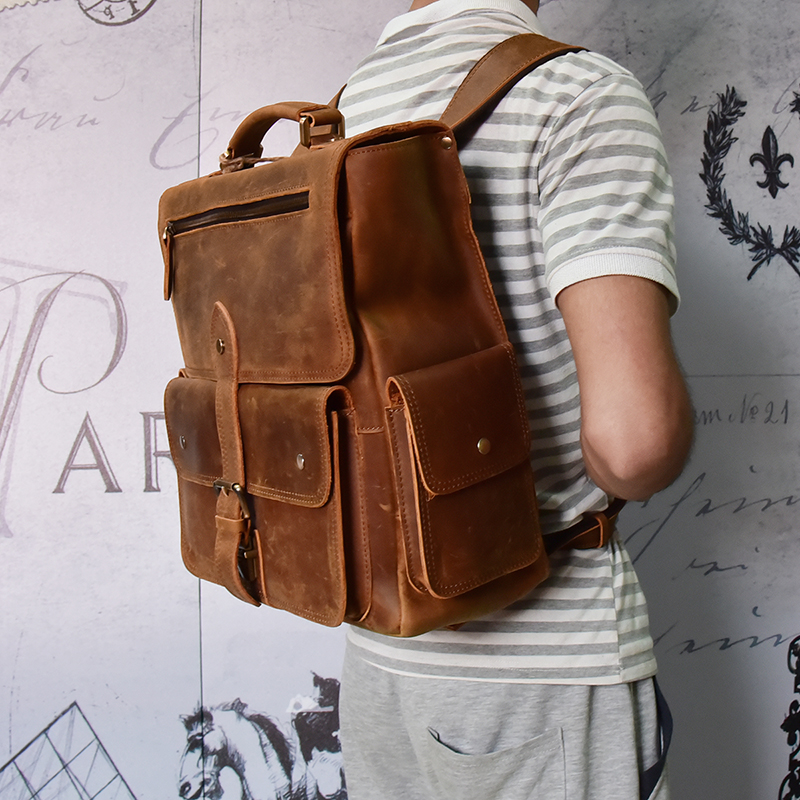 Honey Men Crazy Horse Leather Rucksack 14 Laptop Brown Genuine Leather Backpack Thick Cow Leather Travel Bag Functional Travel Bag To Win A High Admiration And Is Widely Trusted At Home And Abroad. Luggage & Bags Men's Bags