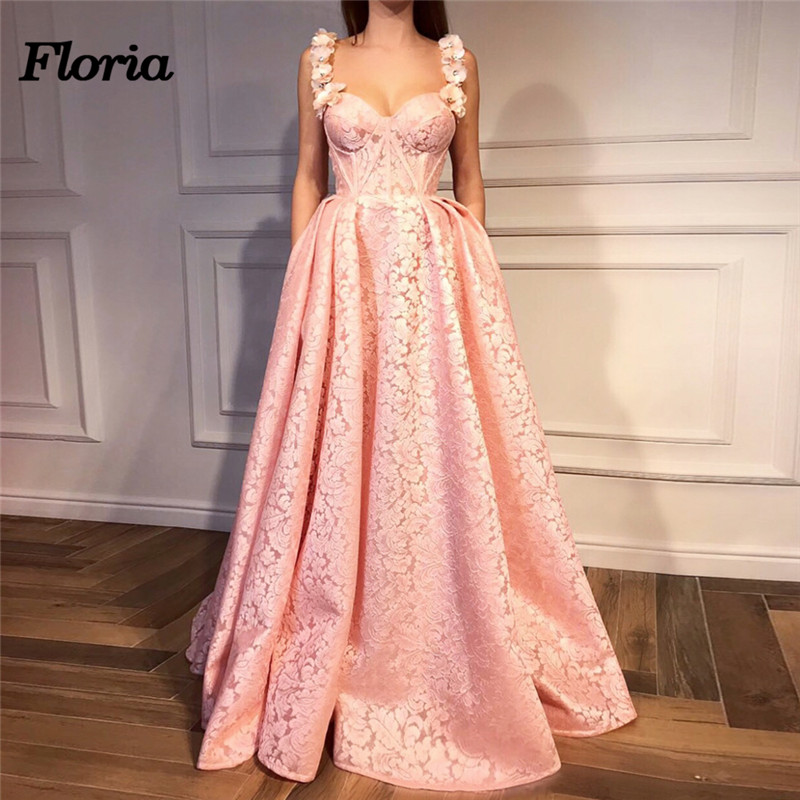Arabic Couture 2018   Evening     Dresses   In Dubai Turkey African Pink Lace Floral Prom Party   Dress   Gowns Moroccan Kaftans Gowns