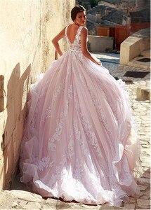 Image 4 - Robe de mariée en Tulle romantique, col en v, ligne a, avec des Appliques en dentelle, rose, longue, robe de mariée