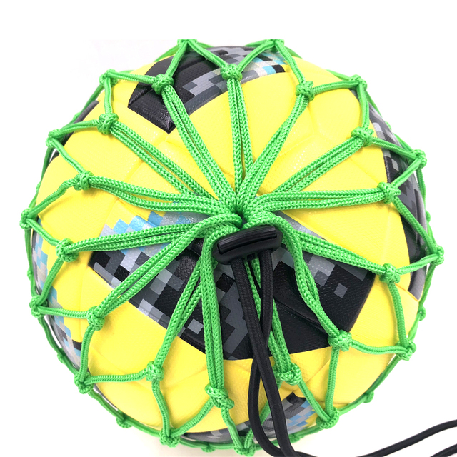 Handle Solo Soccer Kick Trainer with New Ball Locked Net Design football Ball Bungee Elastic Training Juggling Net Size 3, 4, 5