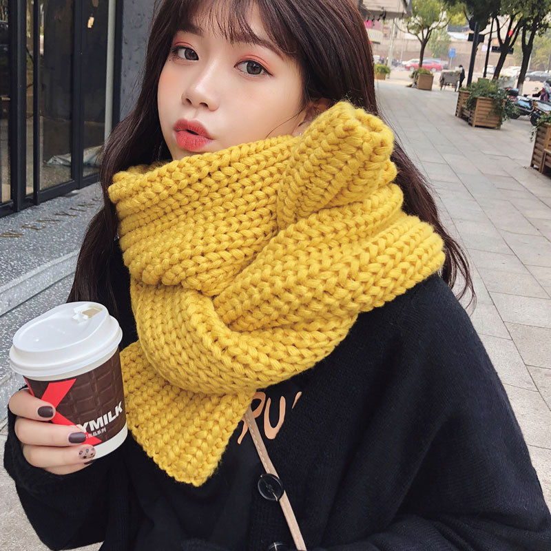 2019 Solid Yellow Fashion Winter Scarves Women For Girls Kitted foulard femme Ladies Scarf bufanda mujer