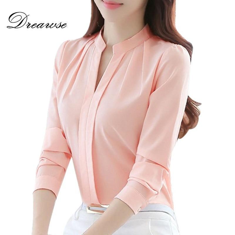 Dreawse אביב סתיו נשים חולצות ארוך שרוול מקרית שיפון חולצה נקבה V-צוואר עבודה ללבוש מוצק צבע לבן משרד חולצות 2550