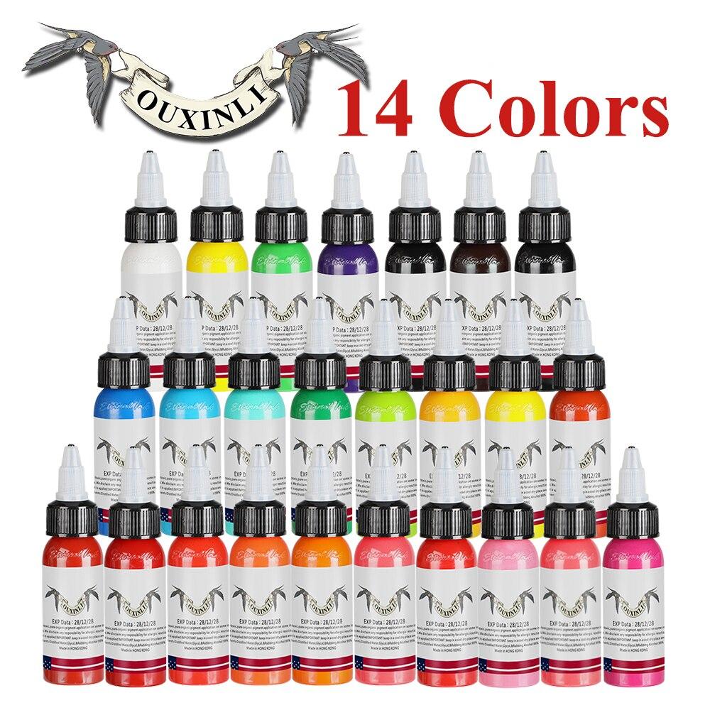 OuXinLi Tattoo Inks 14 Colors 30ml/bottle Tatto Pigment Inks Set For Body Tattoo Art Kit Free Shipping NaniOuXinLi Tattoo Inks 14 Colors 30ml/bottle Tatto Pigment Inks Set For Body Tattoo Art Kit Free Shipping Nani