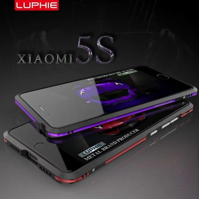 Mi5s luphie para xiaomi/xiaomi mi5 mi 5 caso de luxo ultra fino de luxo colorido de alumínio no vidro traseiro para xiaomi mi mi5s 5S
